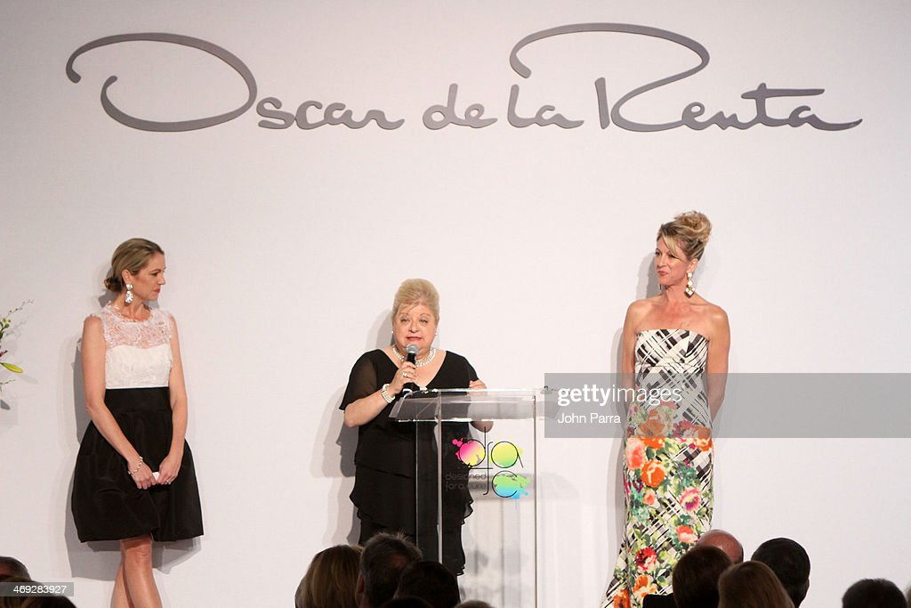 Denie Harris, Joan Shiner, and Jamie Rusk speak at Designed For A Cure 2014 Benefiting Sylvester Comprehensive Cancer Center on February 13, 2014 in Miami, Florida.