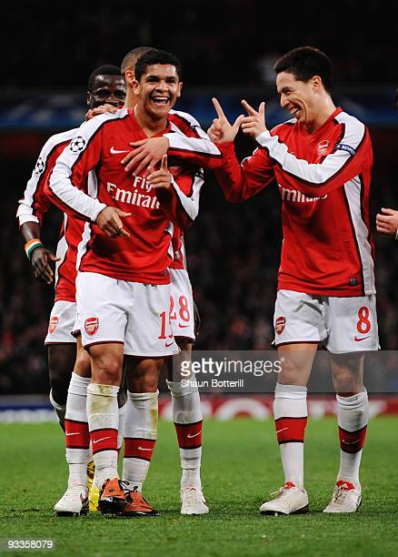 Denilson of Arsenal celebrates scoring their second goal during the UEFA Champions League group H match between Arsenal and Standard Liege at...