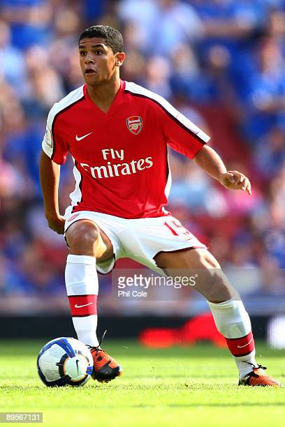 Denilson of Arsenal controls the ball during the Emirates Cup match between Arsenal and Glasgow Rangers at the Emirates Stadium on August 2 2009 in...