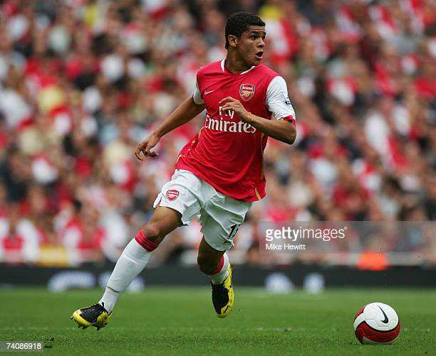 Denilson of Arsenal in action during the Barclays Premiership match between Arsenal and Chelsea at the Emirates Stadium on May 6 2007 in London...