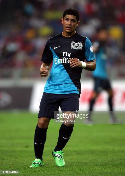 Denilson of Arsenal in action during the preseason Asian Tour friendly match between Malaysia and Arsenal at Bukit Jalil National Stadium on July 13...