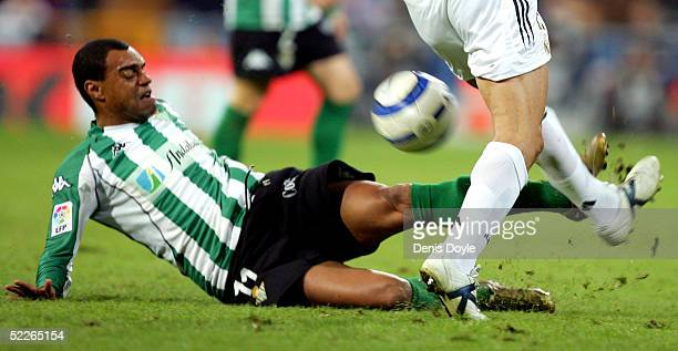 Denilson of Betis tries to rob the ball from Raul Bravo of Real Madrid during the La Liga match between Real Madrid and Real Betis on March 2 2005 at...