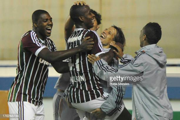 Denilson of Fluminense celebrates a scored goal during the match between Fluminense and Goias a as part of Brazilian Championship 2013 at Moacyrz‹o...