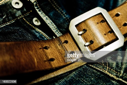 Denim and leather : Stock Photo