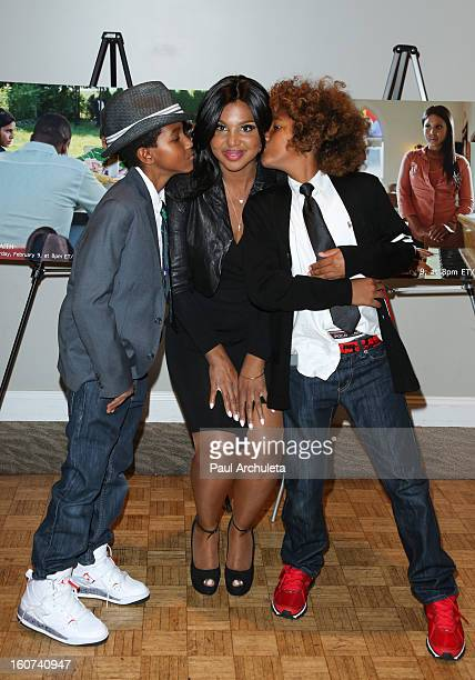 Denim Cole BraxtonLewis Toni Braxton and Diezel Ky BraxtonLewis attend the 'Twist Of Faith' Los Angeles premiere at the Stephen S Wise temple on...