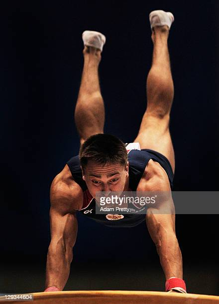 Denis Ablyazin of Russia competes in the Vault final during day ten of the Artistic Gymnastics World Championships Tokyo 2011 at Tokyo metropolitan...
