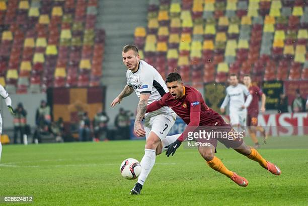 Denis Alibec of FC Astra Giurgiu and Emerson Palmieri of AS Roma during the UEFA Europa League 20162017 Group E game between FC Astra Giurgiu and AS...