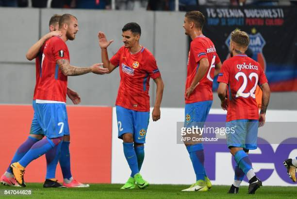 Denis Alibec of FCSB celebrates after he scored 30 against of Plzen during the UEFA Europa League group G football match FCSB v FC Viktoria Plzen in...