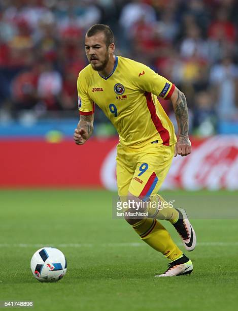 Denis Alibec of Romania controls the ball during the UEFA EURO 2016 Group A match between Romania and Albania at Stade des Lumieres on June 19 2016...
