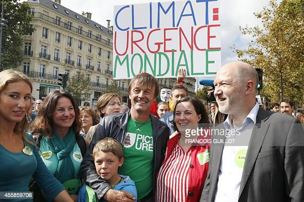 EELV MP Denis Baupin EuropeEcologielesVerts ecologist party's national secretary Emmanuelle Cosse French ecologist Nicolas Hulot and his wife...