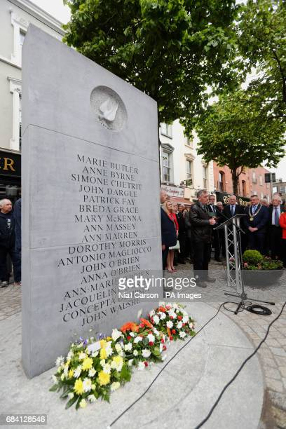 Denis Bradley speaking at a memorial ceremony in Dublin's Talbot Street marking the anniversary of the bombings in Dublin and Monaghan on May 17 1974