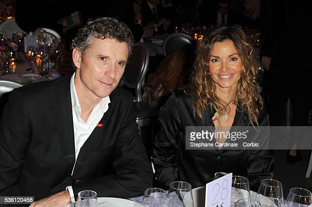 Denis Brogniart and Ingrid Chauvin attend Fashion Dinner For AIDS at Pavillon d'Armenonville in Paris