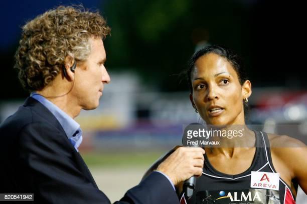 Denis BROGNIART / Christine ARRON 100m Alma Athle Tour 2009 Stade Georges Hebert Reims