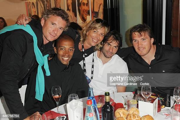 Denis Brogniart Stephane Diagana Rejane Lacoste Christophe Dominici and Sylvain Marconnet at Roland Garros Village