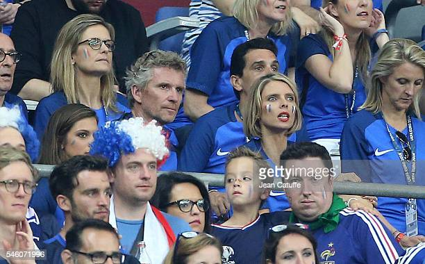 Denis Brogniart Sylvie Tellier attend the UEFA Euro 2016 final between Portugal and France at Stade de France on July 10 2016 in SaintDenis near...