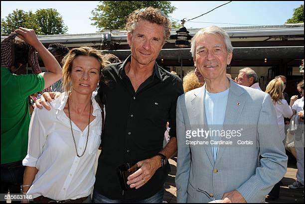 Denis Brogniart with his Wife Hortense and Jean Claude Narcy at Roland Garros Village