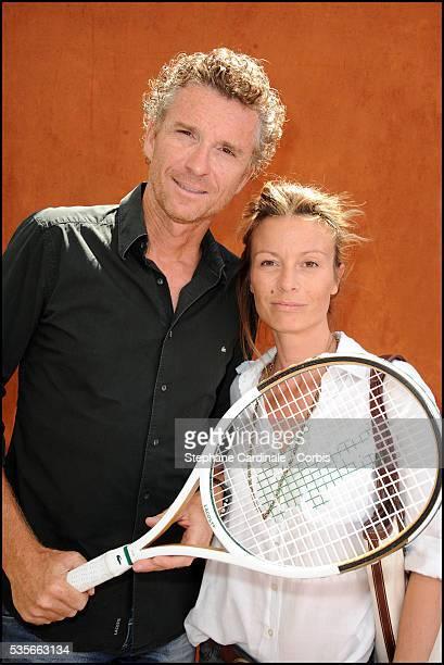 Denis Brogniart with his Wife Hortense at Roland Garros Village