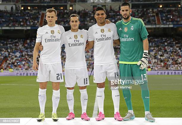 Denis Cheryshev Lucas Vazquez Casemiro and Kiko Casilla of Real Madrid pose before the Santiago Bernabeu Trophy match between Real Madrid and...