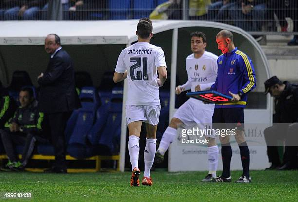 Denis Cheryshev of Real Madrid is substituted for Mateo Kovacic in the first minute of the 2nd half during the Copa del Rey Round of 32 First Leg...