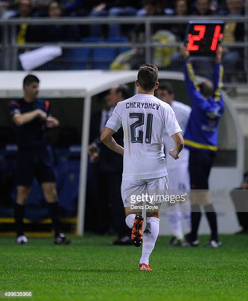 Denis Cheryshev of Real Madrid is substituted in the first minute of the 2nd half during the Copa del Rey Round of 32 First Leg match between Cadiz...