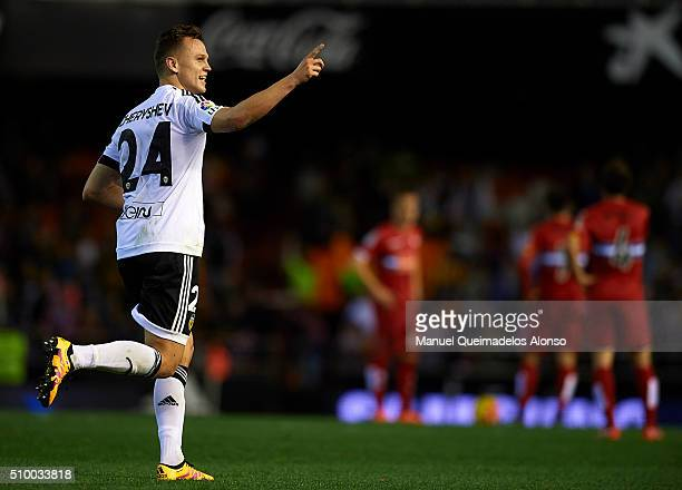 Denis Cheryshev of Valencia celebrates scoring his team's second goal during the La Liga match between Valencia CF and RCD Espanyol at Estadi de...
