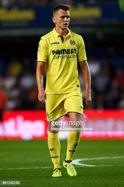 Denis Cheryshev of Villarreal looks on during the La Liga match between Villarreal and Espanyol at Estadio De La Ceramica on September 21 2017 in...