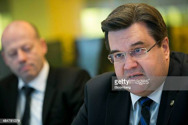 Denis Coderre mayor of Montreal speaks during an interview in New York US on Monday April 14 2014 Coderre former Canadian immigration minister was...
