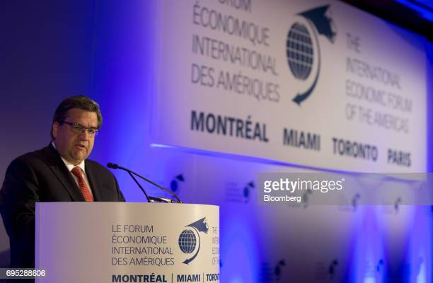 Denis Coderre mayor of Montreal speaks during the International Economic Forum Of The Americas in Montreal Quebec Canada on Monday June 12 2017 The...