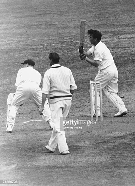Denis Compton hits the winning stroke as England beat Australia and win the Ashes at the Oval London 19th August 1953