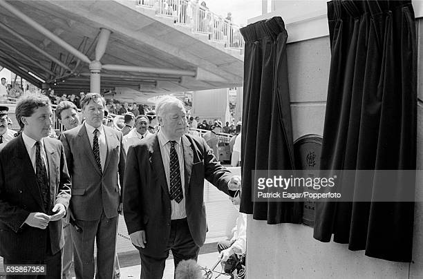 Denis Compton of England opens the new Compton and Edrich Stands at Lord's Cricket Ground London 18th April 1991
