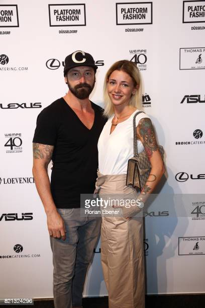 Denis Delic and Jasmin Kessler attends the Thomas Rath show during Platform Fashion July 2017 at Areal Boehler on July 23 2017 in Duesseldorf Germany