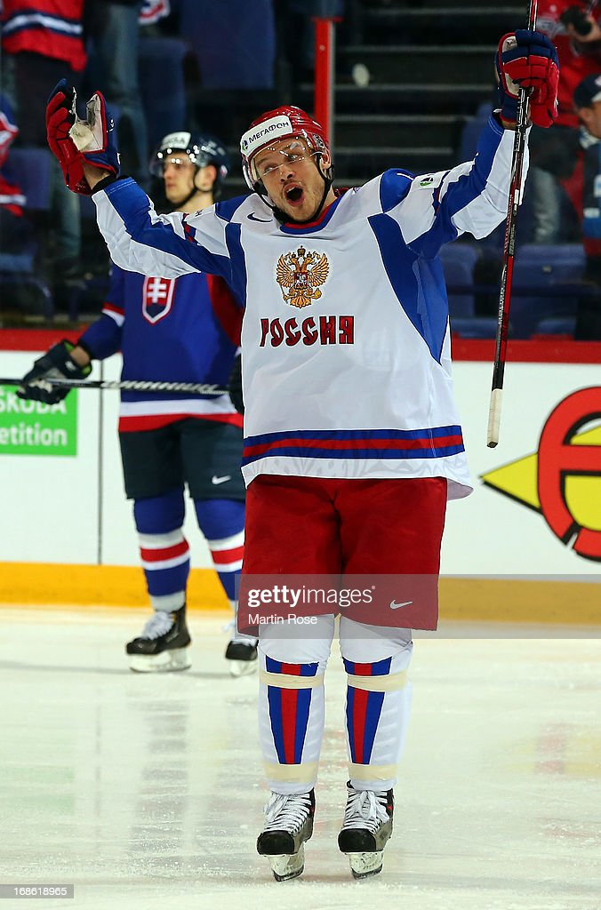 Denis Denisov of Russia celebrates after he scores his team's 3rd goal during the IIHF World Championship group H match between Slovakia and Russia at Hartwall Areena on May 12, 2013 in Helsinki, Finland.