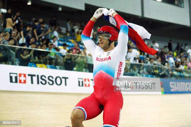Denis Dmitriev of Russia celebrates after winning Men's Sprint Final on Day 4 in 2017 UCI Track Cycling World Championships at Hong Kong Velodrome on...