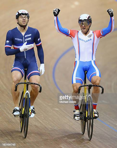 Denis Dmitriev of Russia celebrates his semifinal victory over Francois Pervis of France in the men's sprint on day five of the 2013 UCI Track World...