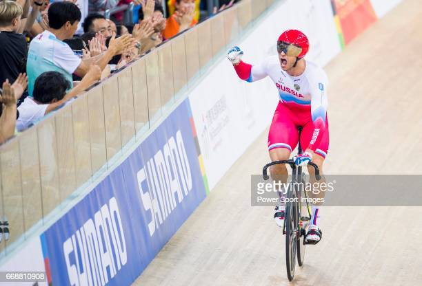 Denis Dmitriev of Russia celebrates winning in the Men's Sprint Finals 2nd Race during 2017 UCI World Cycling on April 15 2017 in Hong Kong Hong Kong