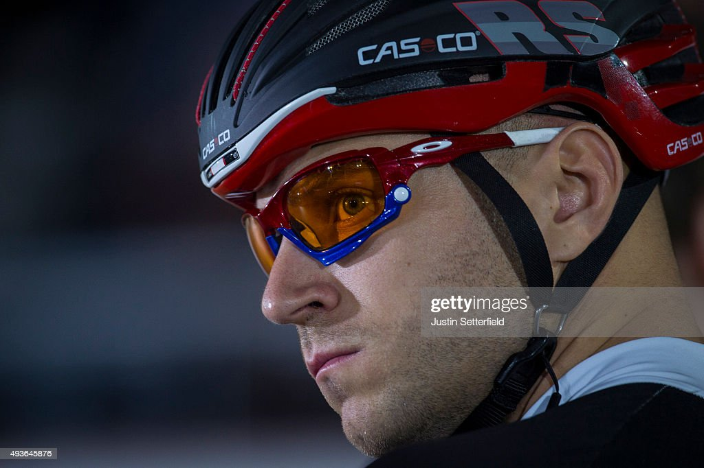 <a gi-track='captionPersonalityLinkClicked' href=/galleries/search?phrase=Denis+Dmitriev&family=editorial&specificpeople=5492378 ng-click='$event.stopPropagation()'>Denis Dmitriev</a> of Russia looks on at the start of the Keirin Heats during day four of the London Six Day Race at the Lee Valley Velopark on October 21, 2015 in London, England.
