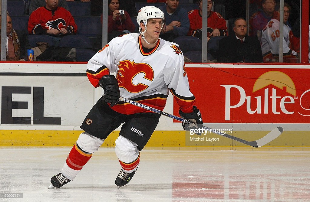 Denis Gauthier #3 of the Calgary Flames skates against the Washington Capitals on January 14, 2004 at the MCI Center in Washington, D.C. The Flames and the Capitals tied 3-3.