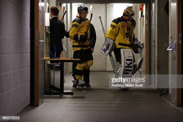 Denis Godla and Santeri Lukka of KalPa Kuopio enter the arena before the Champions Hockey League match between Stavanger Oilers and KalPa Kuopio at...