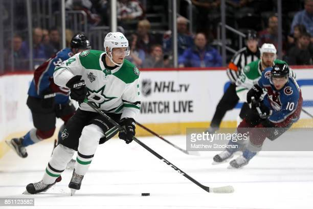 Denis Gurianov of the Dallas Stars advances the puck against the Colorado Avalanche at the Pepsi Center on September 21 2017 in Denver Colorado
