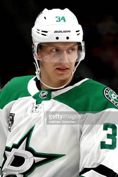 Denis Gurianov of the Dallas Stars plays against the Colorado Avalanche at the Pepsi Center on September 21 2017 in Denver Colorado