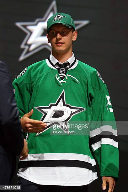 Denis Gurianov poses after being selected 12th overall by the Dallas Stars in the first round of the 2015 NHL Draft at BBT Center on June 26 2015 in...