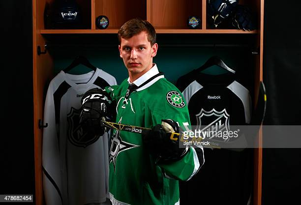 Denis Gurianov poses for a portrait after being selected 12th overall by the Dallas Stars during Round One of the 2015 NHL Draft at BBT Center on...