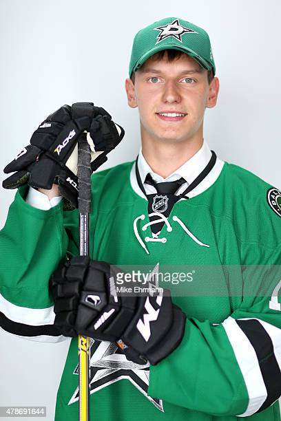Denis Gurianov poses for a portrait after being selected 12th overall by the Dallas Stars during the 2015 NHL Draft at BBT Center on June 26 2015 in...