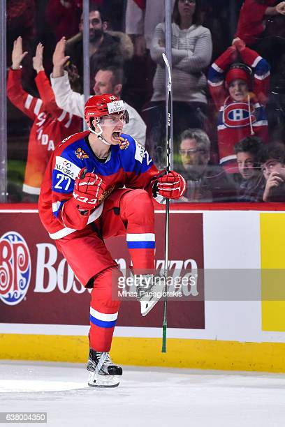 Denis Guryanov of Team Russia celebrates a goal in the shootout during the 2017 IIHF World Junior Championship semifinal game against Team United...