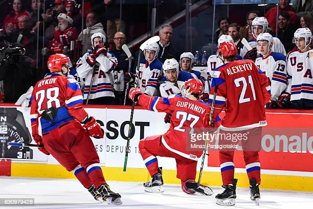 Denis Guryanov of Team Russia celebrates his goal during the 2017 IIHF World Junior Championship semifinal game against Team United States at the...