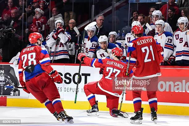 Denis Guryanov of Team Russia celebrates his goal during the 2017 IIHF World Junior Championship semifinal game against Team United States at the...