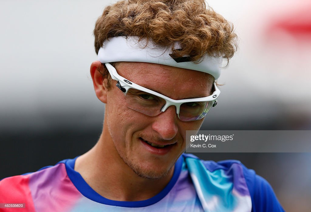 <a gi-track='captionPersonalityLinkClicked' href=/galleries/search?phrase=Denis+Istomin&family=editorial&specificpeople=553792 ng-click='$event.stopPropagation()'>Denis Istomin</a> of Uzbekistan reacts after a shot against Rajeev Ram during the BB&T Atlanta Open at Atlantic Station on July 22, 2014 in Atlanta, Georgia.