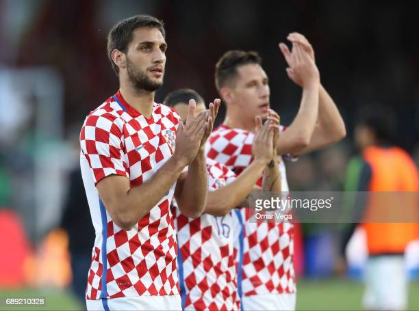Denis Kolinger greets the fans during an International Friendly match between Mexico and Croatia at Los Angeles Memorial Coliseum on May 27 2017 in...