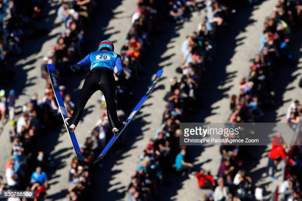 Denis Kornilov of Russia takes 3rd place during the Men's HS 132 at the FIS Grand Prix Ski Jumping on August 12 2017 in Courchevel France