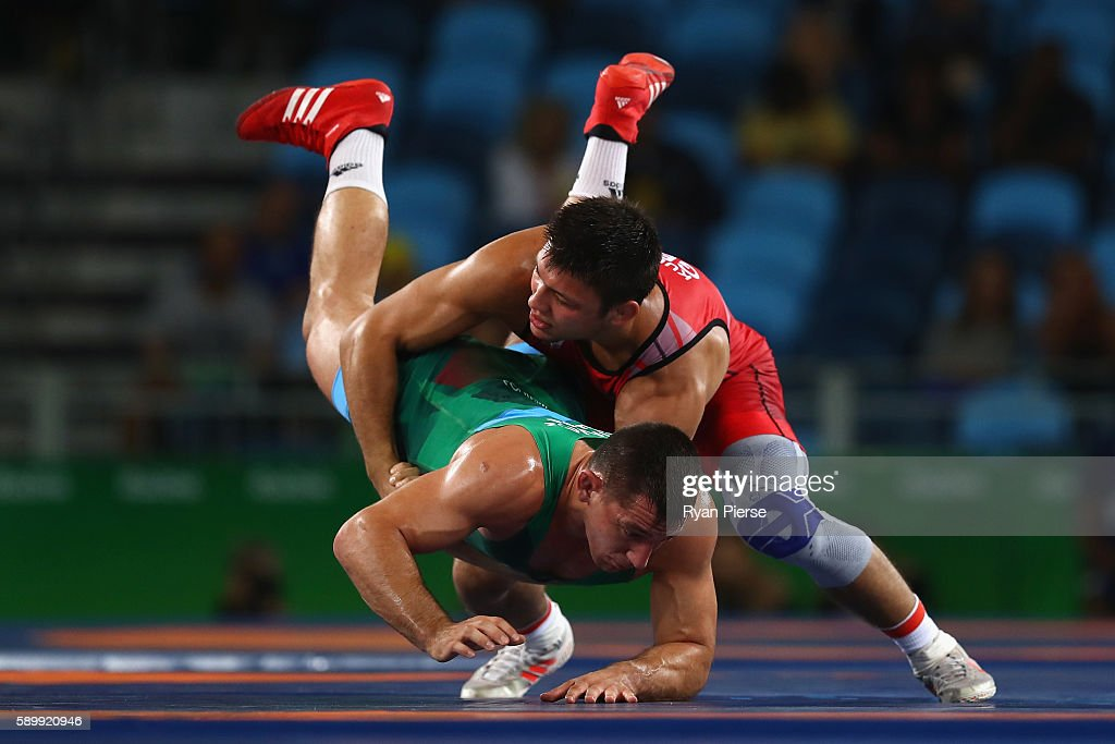 Denis Kudla of Germany and Viktor Lorincz of Hungary compete in the Men's GrecoRoman 85 kg Bronze Medal bout on Day 10 of the Rio 2016 Olympic Games...